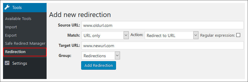 redirection-plugin-wordpress-dashboard